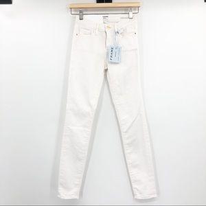 Frame Denim Le Skinny De Jeanne Crop White Jeans